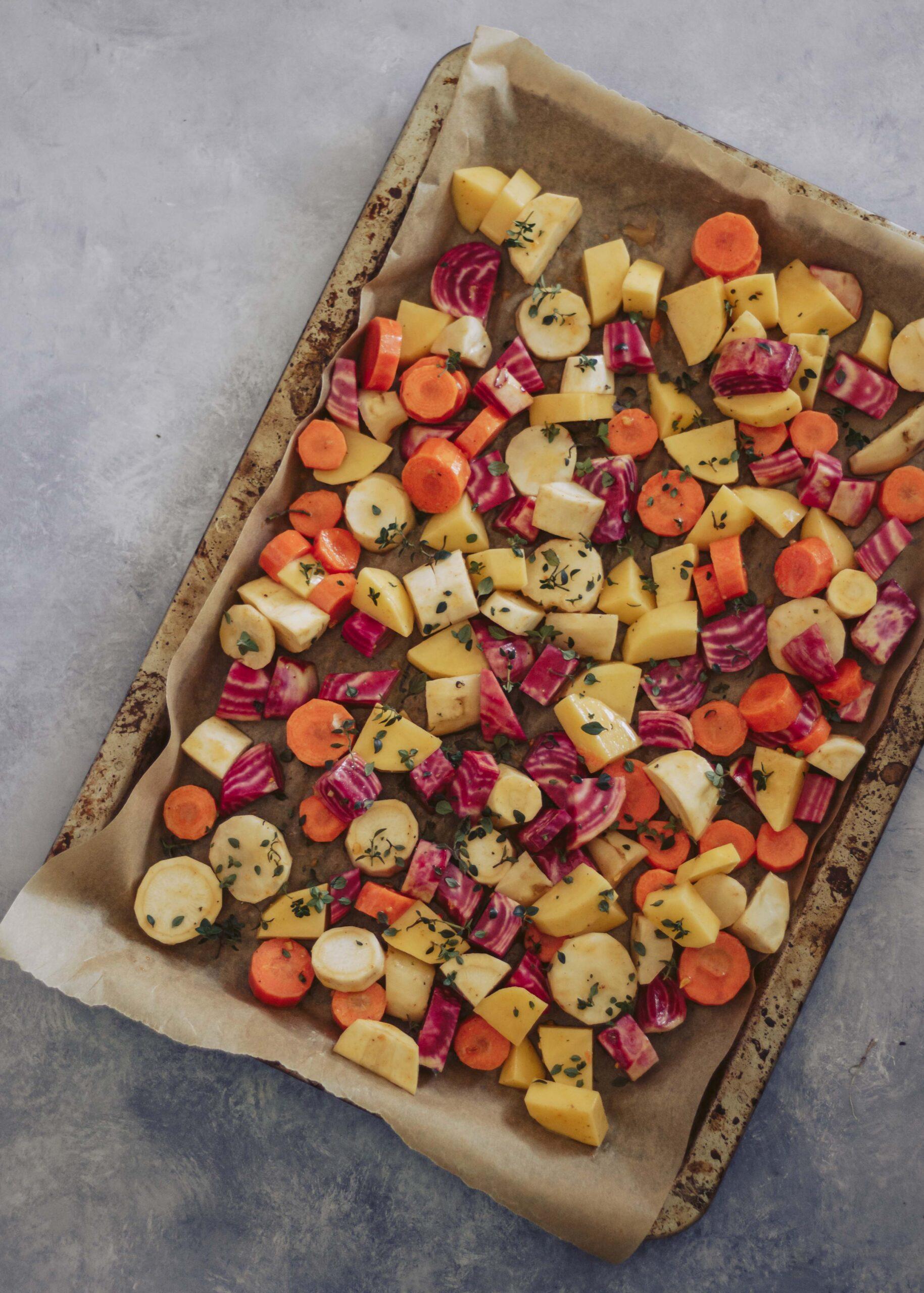 ovnbagte rodfrugter med timian og honning