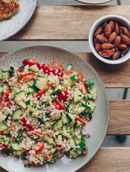 tabouleh med grillet halloumi
